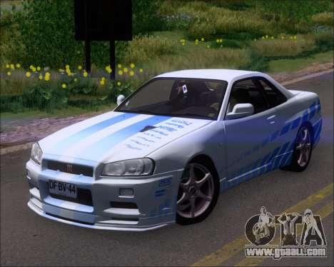 Nissan Skyline GT-R R34 V-Spec II for GTA San Andreas interior