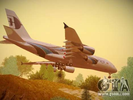 Airbus A380-800 Malaysia Airlines for GTA San Andreas back view