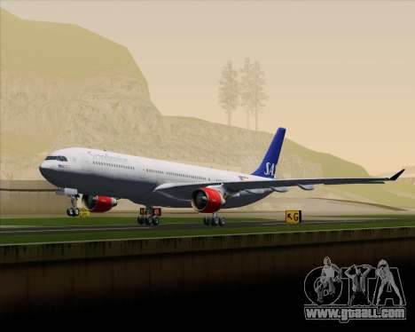 Airbus A330-300 Scandinavian Airlines System. for GTA San Andreas upper view