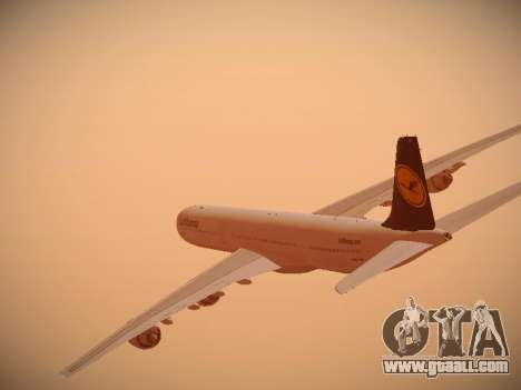 Airbus A340-600 Lufthansa for GTA San Andreas bottom view