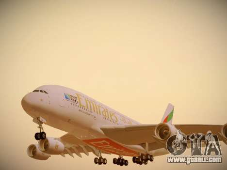 Airbus A380-800 Emirates Rugby World Cup for GTA San Andreas wheels