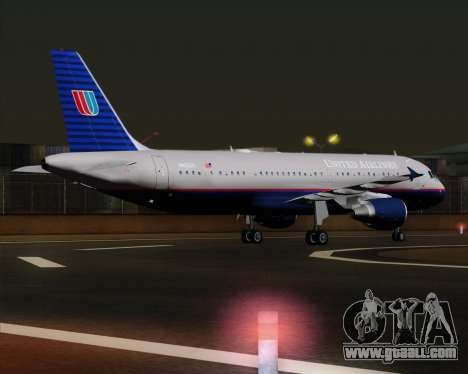 Airbus A320-232 United Airlines (Old Livery) for GTA San Andreas right view