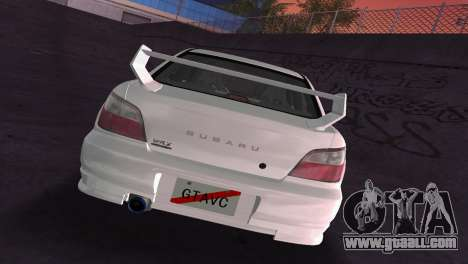 Subaru Impreza WRX 2002 Type 2 for GTA Vice City upper view