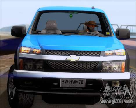 Chevrolet Colorado for GTA San Andreas bottom view