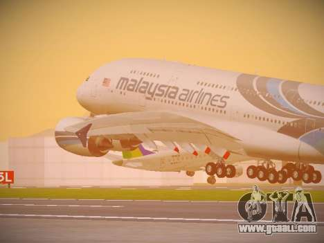 Airbus A380-800 Malaysia Airlines for GTA San Andreas side view