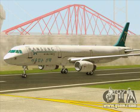 Airbus A321-200 Hansung Airlines for GTA San Andreas back left view