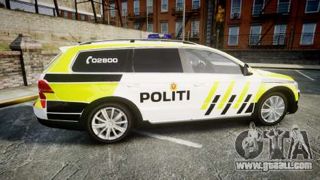 Volkswagen Passat 2014 Marked Norwegian Police for GTA 4 left view