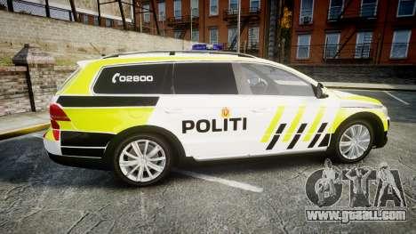 Volkswagen Passat 2014 Marked Norwegian Police for GTA 4 left view