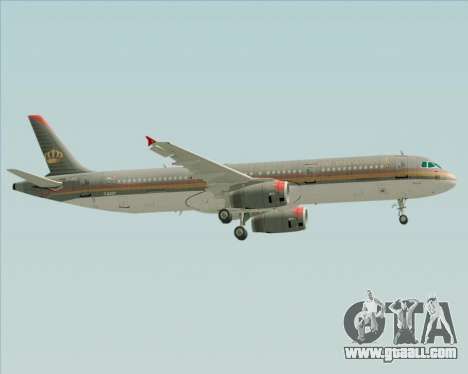 Airbus A321-200 Royal Jordanian Airlines for GTA San Andreas upper view
