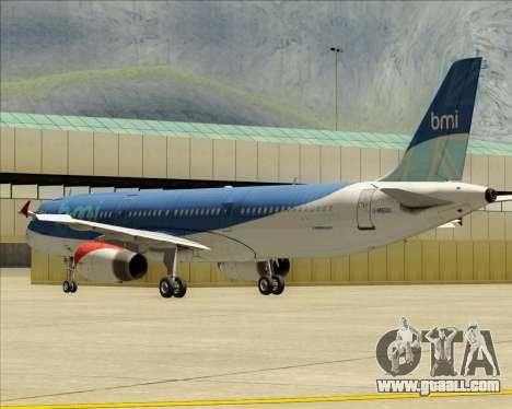 Airbus A321-200 British Midland International for GTA San Andreas bottom view