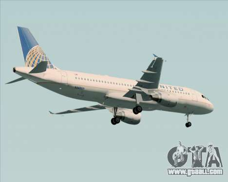 Airbus A320-232 United Airlines for GTA San Andreas bottom view