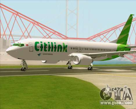 Boeing 737-800 Citilink for GTA San Andreas back view