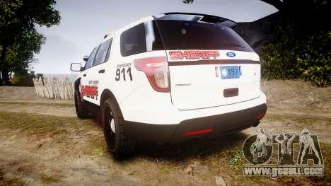Ford Explorer 2013 LC Sheriff [ELS] for GTA 4 back left view