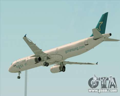 Airbus A321-200 Hansung Airlines for GTA San Andreas inner view