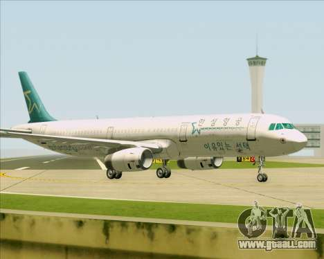 Airbus A321-200 Hansung Airlines for GTA San Andreas bottom view
