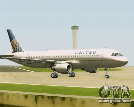 Airbus A320-232 United Airlines for GTA San Andreas back left view