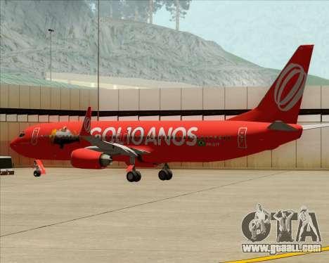 Boeing 737-800 Gol Transportes Aéreos for GTA San Andreas wheels