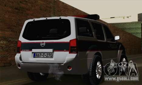 Nissan Pathfinder Policija for GTA San Andreas left view