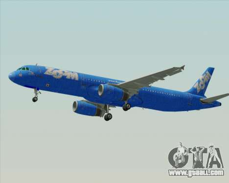 Airbus A321-200 Zoom Airlines for GTA San Andreas back view