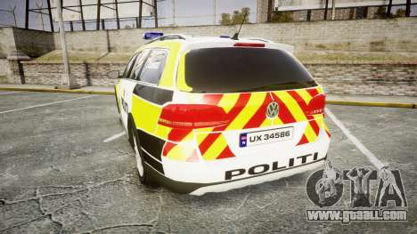 Volkswagen Passat 2014 Marked Norwegian Police for GTA 4 back left view