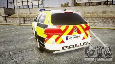 Volkswagen Passat 2014 Marked Norwegian Police for GTA 4 back left view
