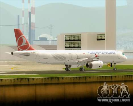 Airbus A321-200 Turkish Airlines for GTA San Andreas back left view