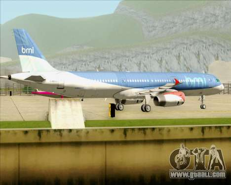 Airbus A321-200 British Midland International for GTA San Andreas back view