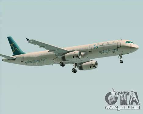Airbus A321-200 Hansung Airlines for GTA San Andreas back view