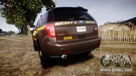 Ford Explorer 2013 Sheriff [ELS] Virginia for GTA 4 back left view