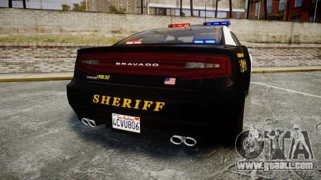 GTA V Bravado Buffalo LS Sheriff Black [ELS] for GTA 4 back left view