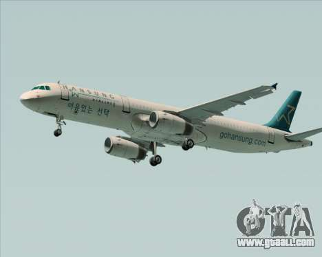 Airbus A321-200 Hansung Airlines for GTA San Andreas left view