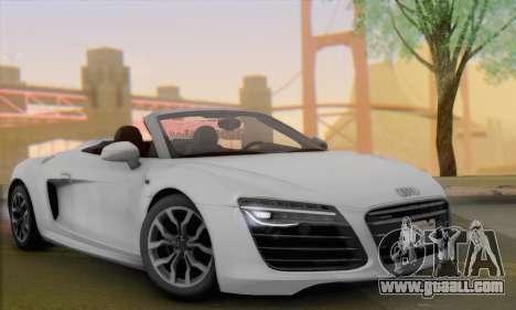 Audi R8 V10 Spyder 2014 for GTA San Andreas back left view