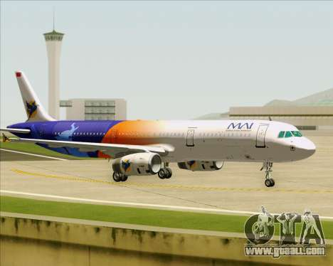 Airbus A321-200 Myanmar Airways International for GTA San Andreas back view