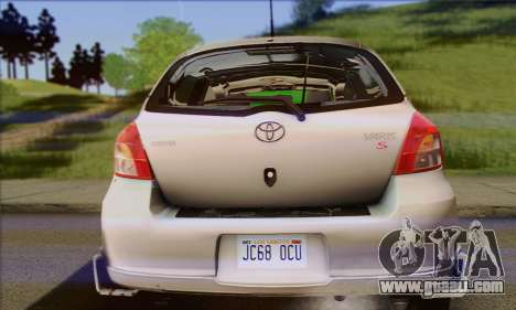 Toyota Yaris Shark Edition for GTA San Andreas back view