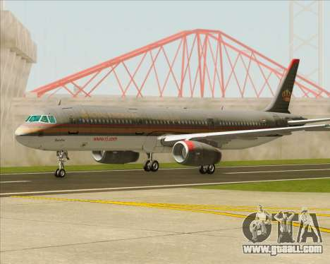Airbus A321-200 Royal Jordanian Airlines for GTA San Andreas bottom view