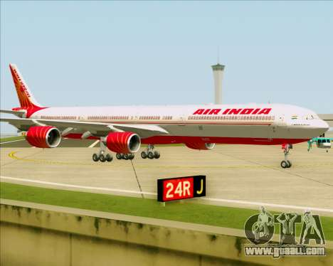 Airbus A340-600 Air India for GTA San Andreas back left view