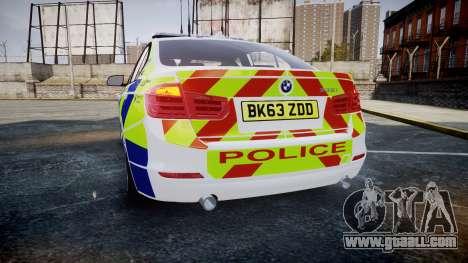 BMW 335i 2013 Central Motorway Police [ELS] for GTA 4 back left view