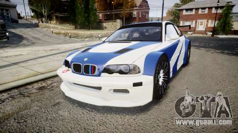 BMW M3 E46 GTR Most Wanted plate NFS ND 4 SPD for GTA 4
