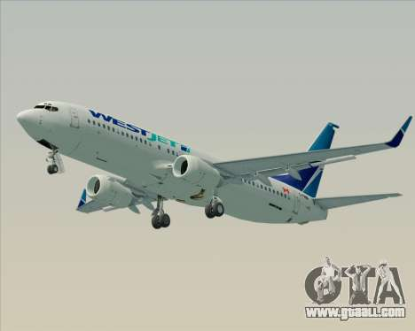 Boeing 737-800 WestJet Airlines for GTA San Andreas back left view