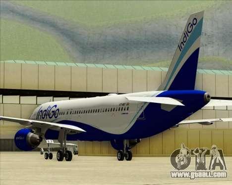 Airbus A320-200 IndiGo for GTA San Andreas upper view