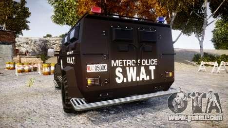 SWAT Van Metro Police [ELS] for GTA 4 back left view