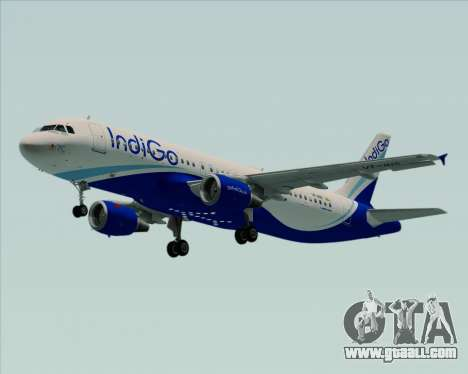 Airbus A320-200 IndiGo for GTA San Andreas back left view