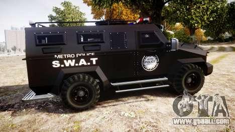 SWAT Van Metro Police for GTA 4 left view