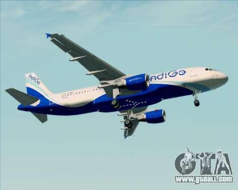 Airbus A320-200 IndiGo for GTA San Andreas bottom view