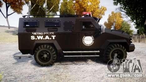SWAT Van Metro Police [ELS] for GTA 4 left view