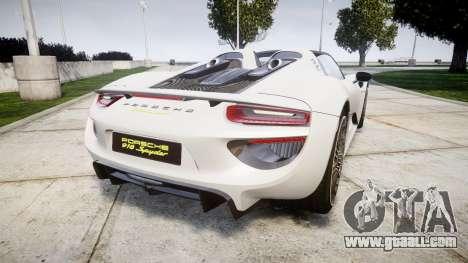 Porsche 918 Spyder 2014 for GTA 4 back left view