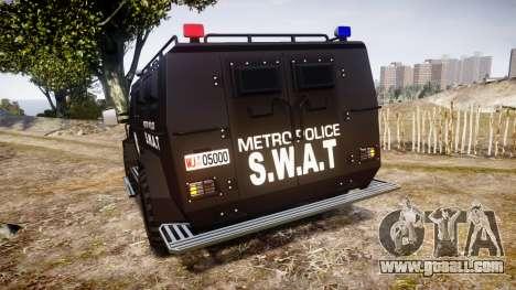 SWAT Van Metro Police for GTA 4 back left view