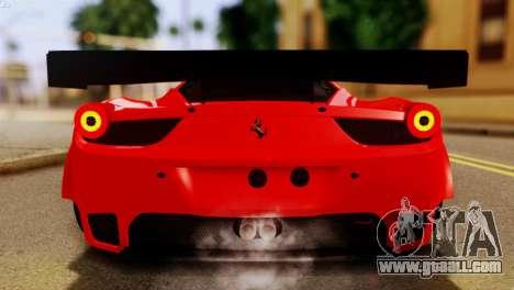 Ferrari 62 F458 2011 for GTA San Andreas side view