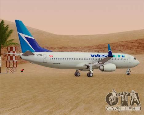 Boeing 737-800 WestJet Airlines for GTA San Andreas back view