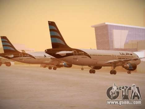 Airbus A320-214 Afriqiyah Airways for GTA San Andreas back left view